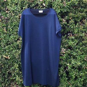 Marina Rinaldi wool blend knit navy dress